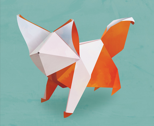 How About Orange: Another origami fox | 415x504